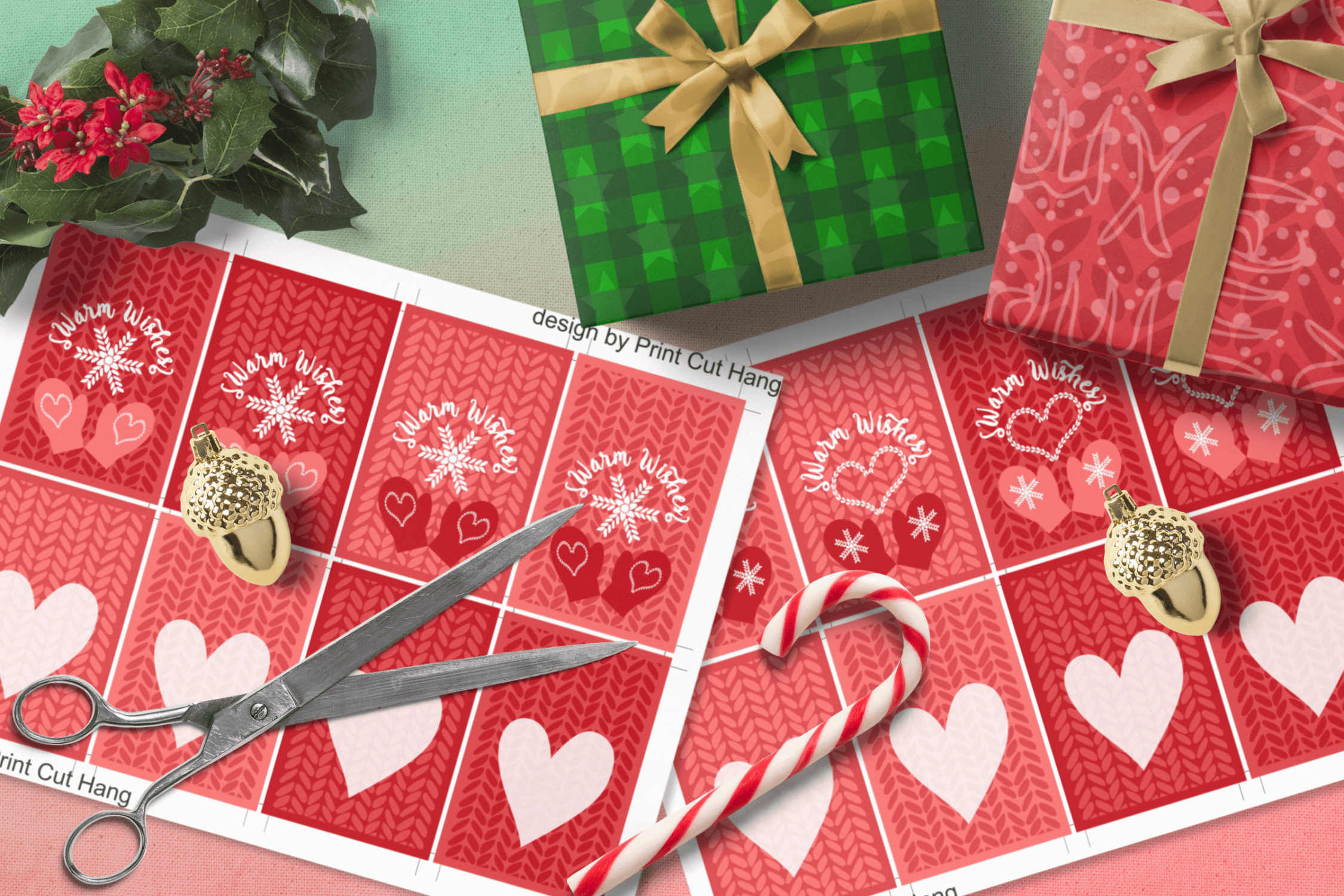 Printable Warm Wishes Red Tags Knitting Branding Tags example image 8