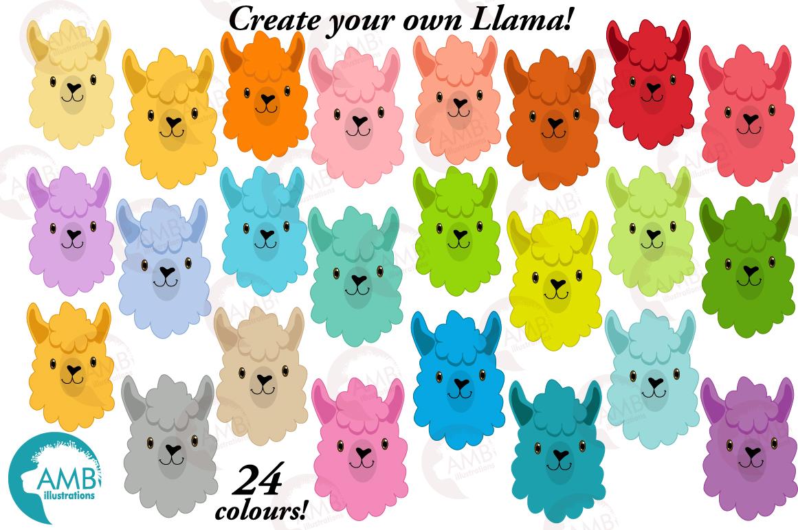 Create your own LLama, DIY Llama Funny Faces clipart, graphics, illustrations, AMB-2376 example image 5