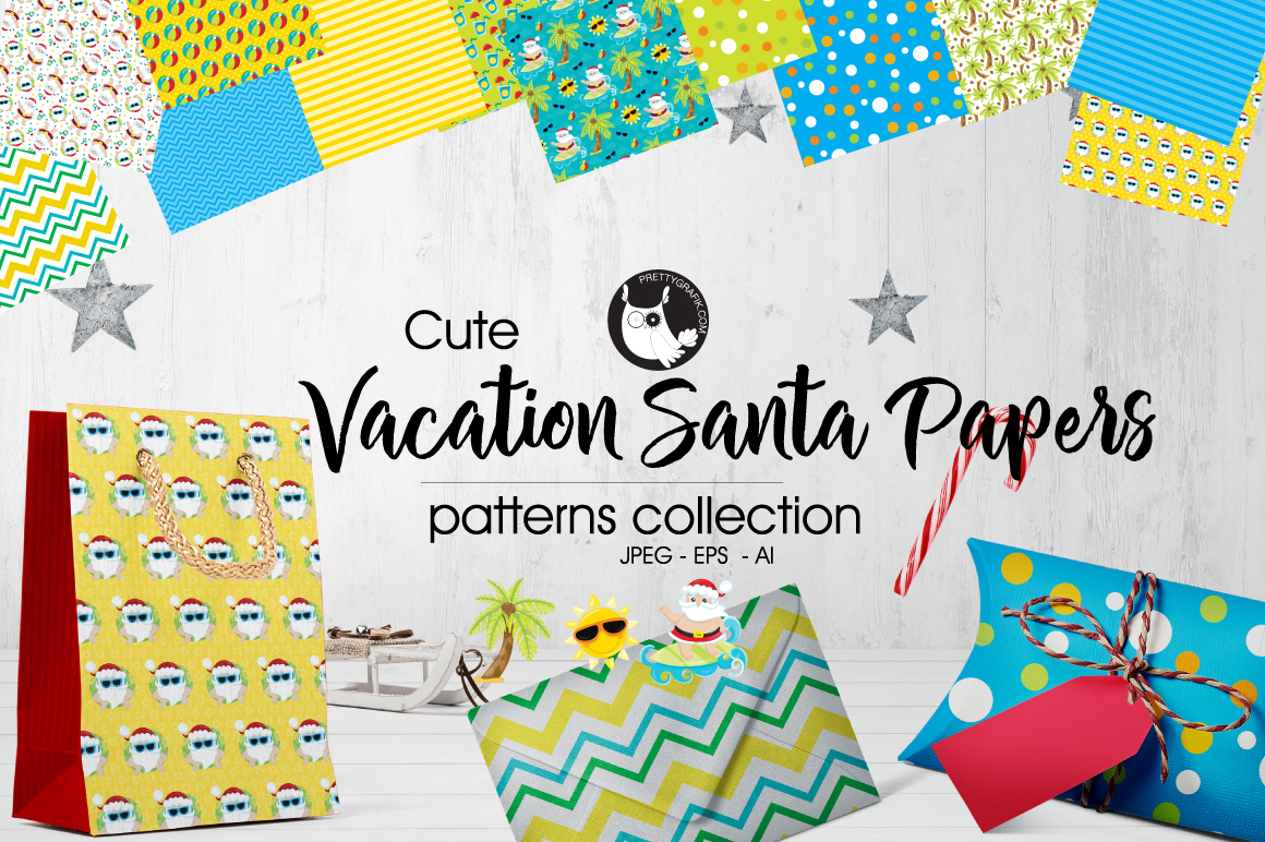VACATION-SANTA-PAPERS , digital papers example image 1