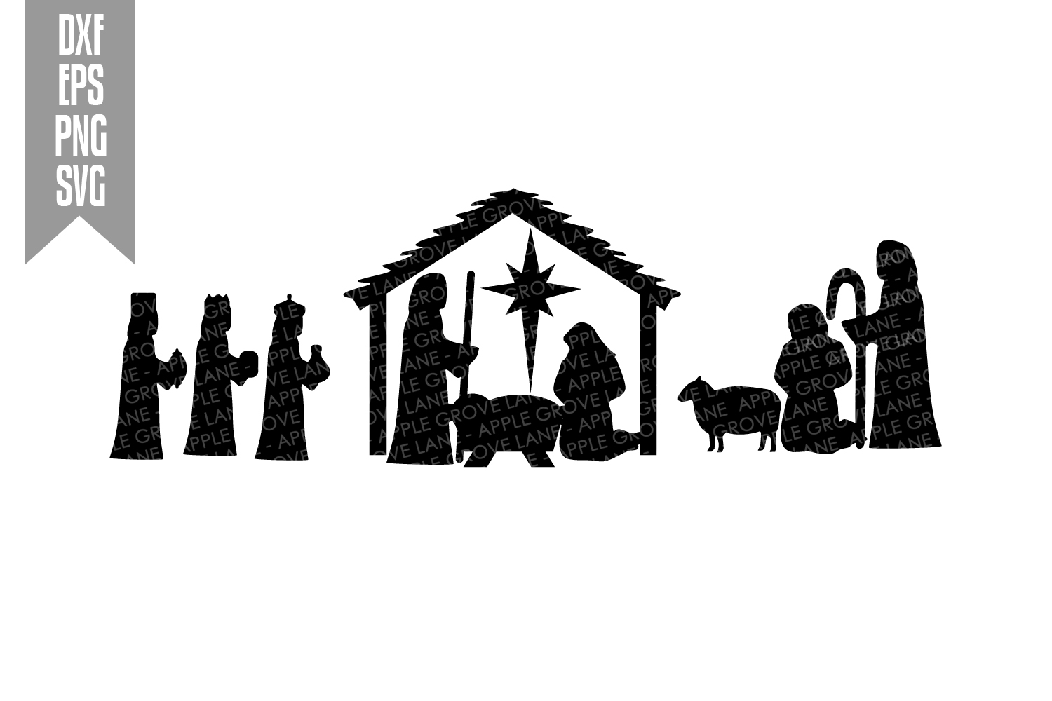 Christmas Nativity Svg Cut File - Svg Dxf Eps Png example image 2