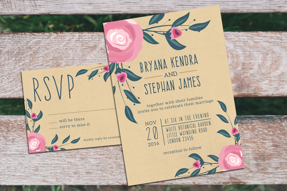 Boho Wedding Invitation & RSVP example image 3