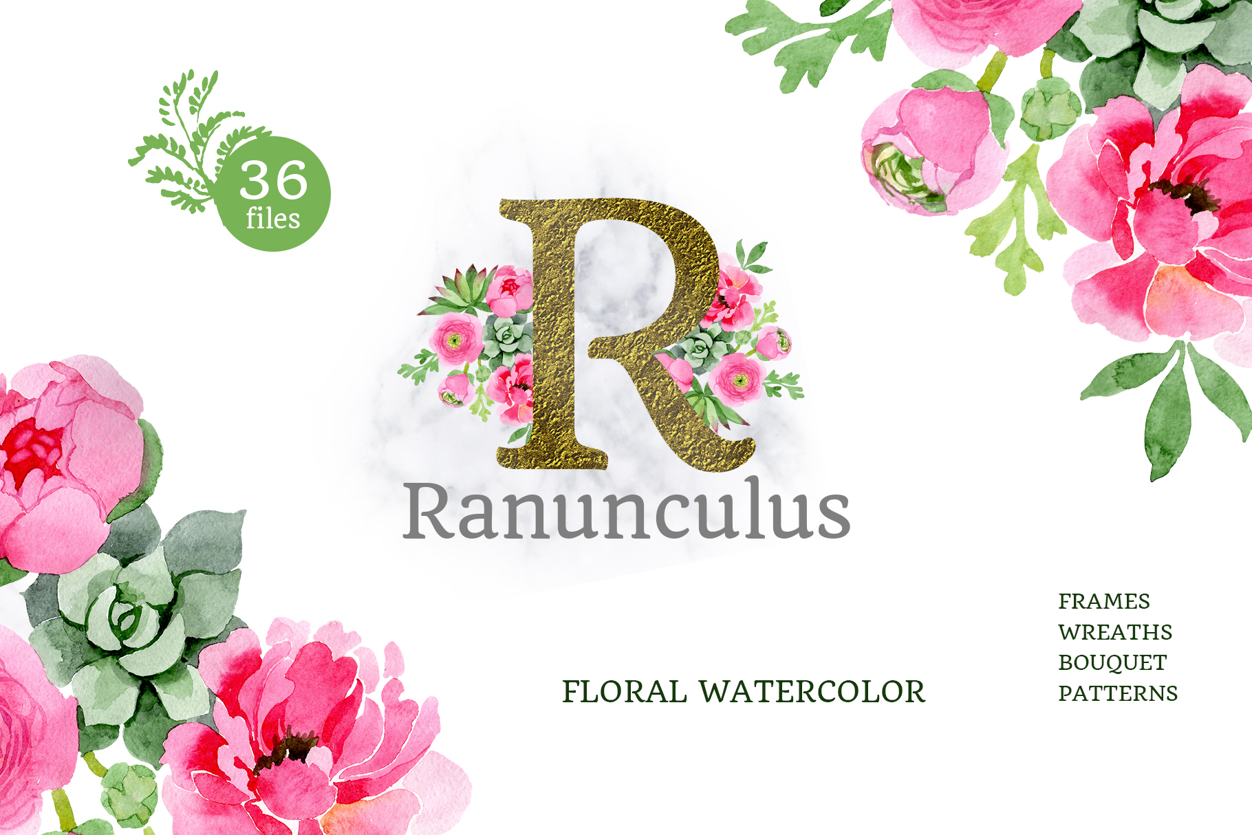 Buttercup flowers pink Watercolor png example image 1