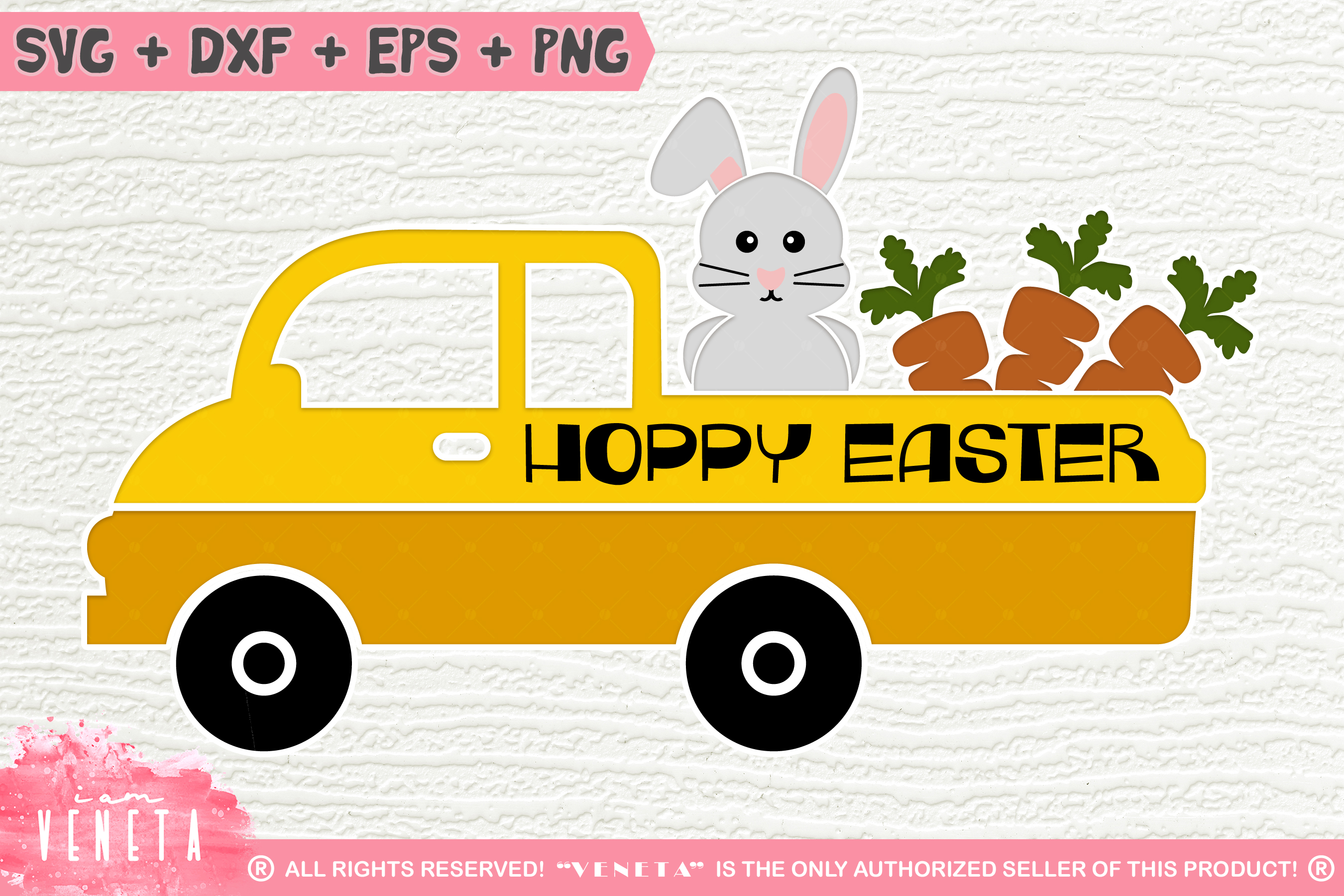 Hoppy Easter| Bunny and Carrots | SVG, DXF, Cutting Files example image 1