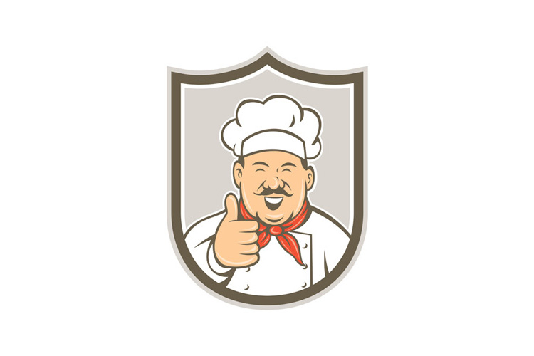 Chef Cook Happy Thumbs Up Shield Retro example image 1
