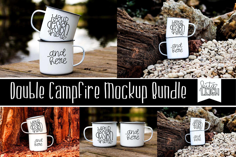 Double Stack White Campfire Mug Mockup Bundle example image 1