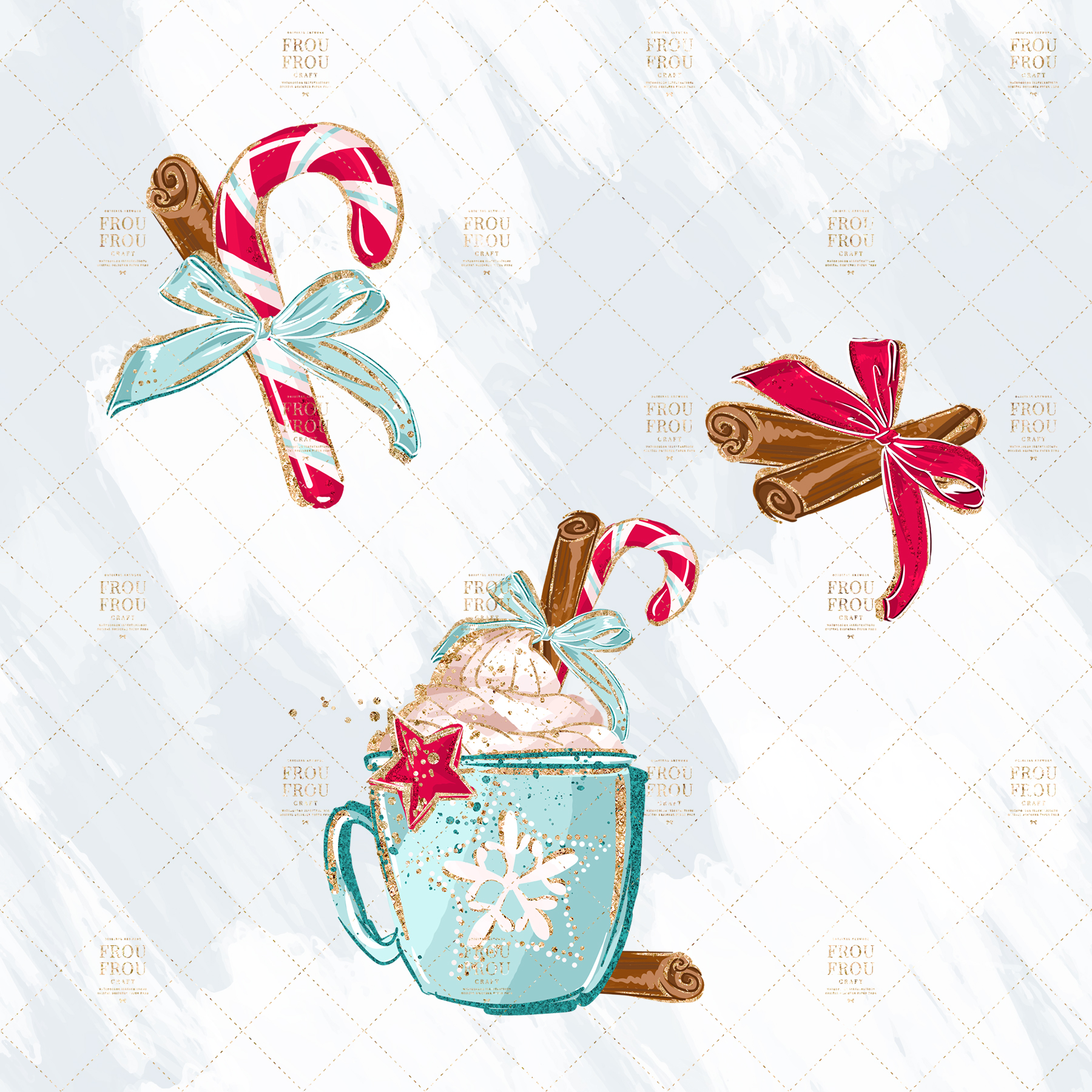 Christmas Winter Ginger Bread Sugar Cane Clip Art example image 4