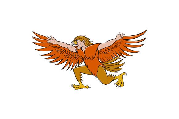 Lleu Llaw Gyffes Spread Eagle Cartoon example image 1