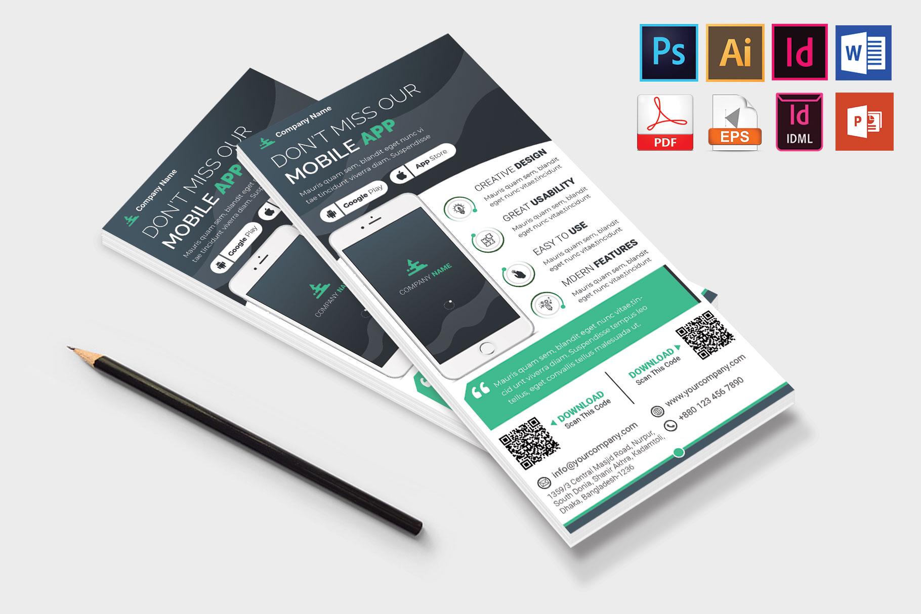 Mobile App Promotion DL Flyer Vol-02 example image 4