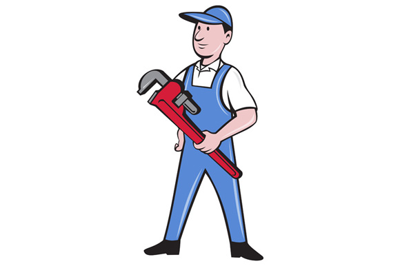 Handyman Pipe Wrench Standing Cartoon example image 1
