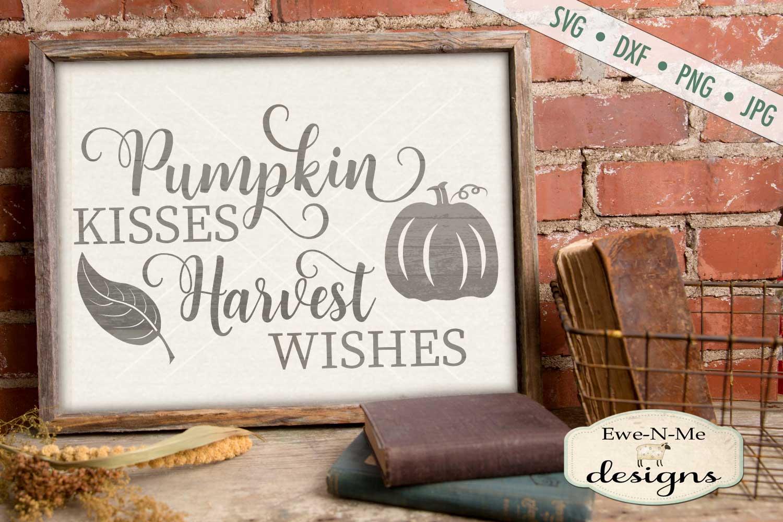 Pumpkin Kisses Harvest Wishes Leaves Pumpkin SVG DXF Files example image 1