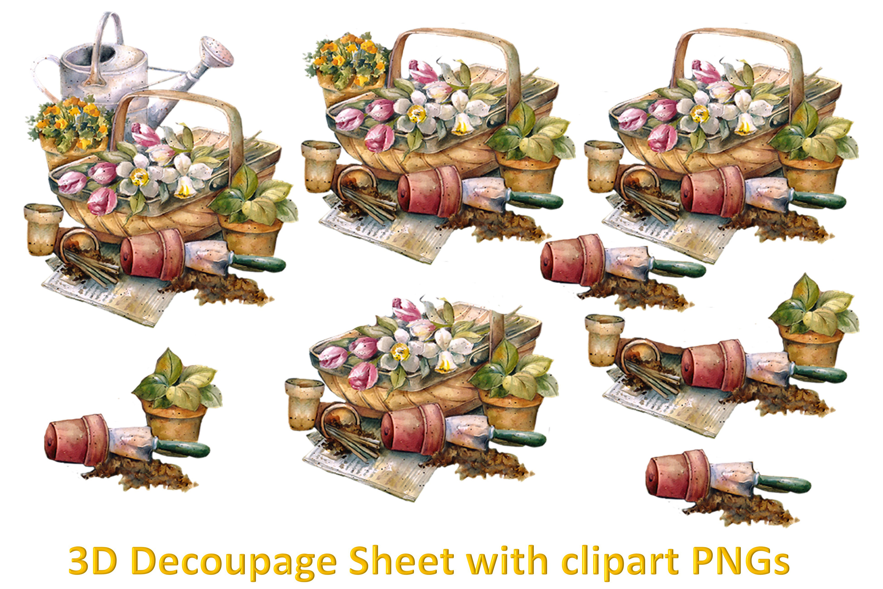 Floral Decoupage sheet or collage sheet. Printable and PNGs example image 1
