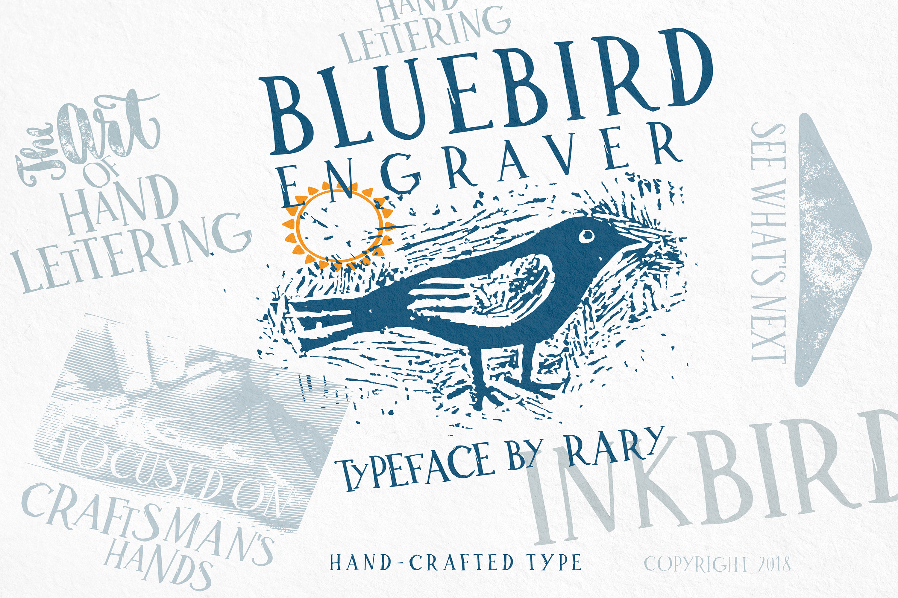 Bluebird engraver Font | An artisan hand-made stamp type. example image 2