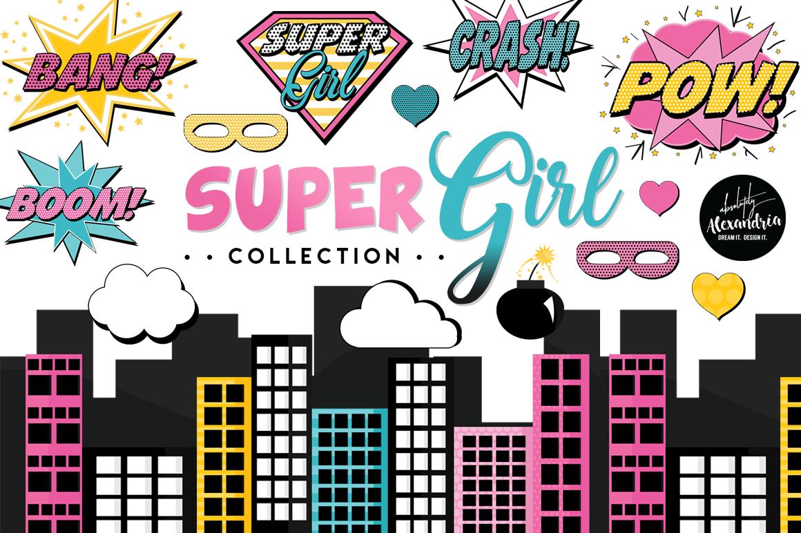 Super Girl Clipart Graphics & Digital Paper Patterns Bundle example image 1