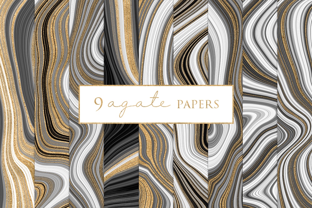 Agate Marble and Gold Effect Digital Papers example image 1