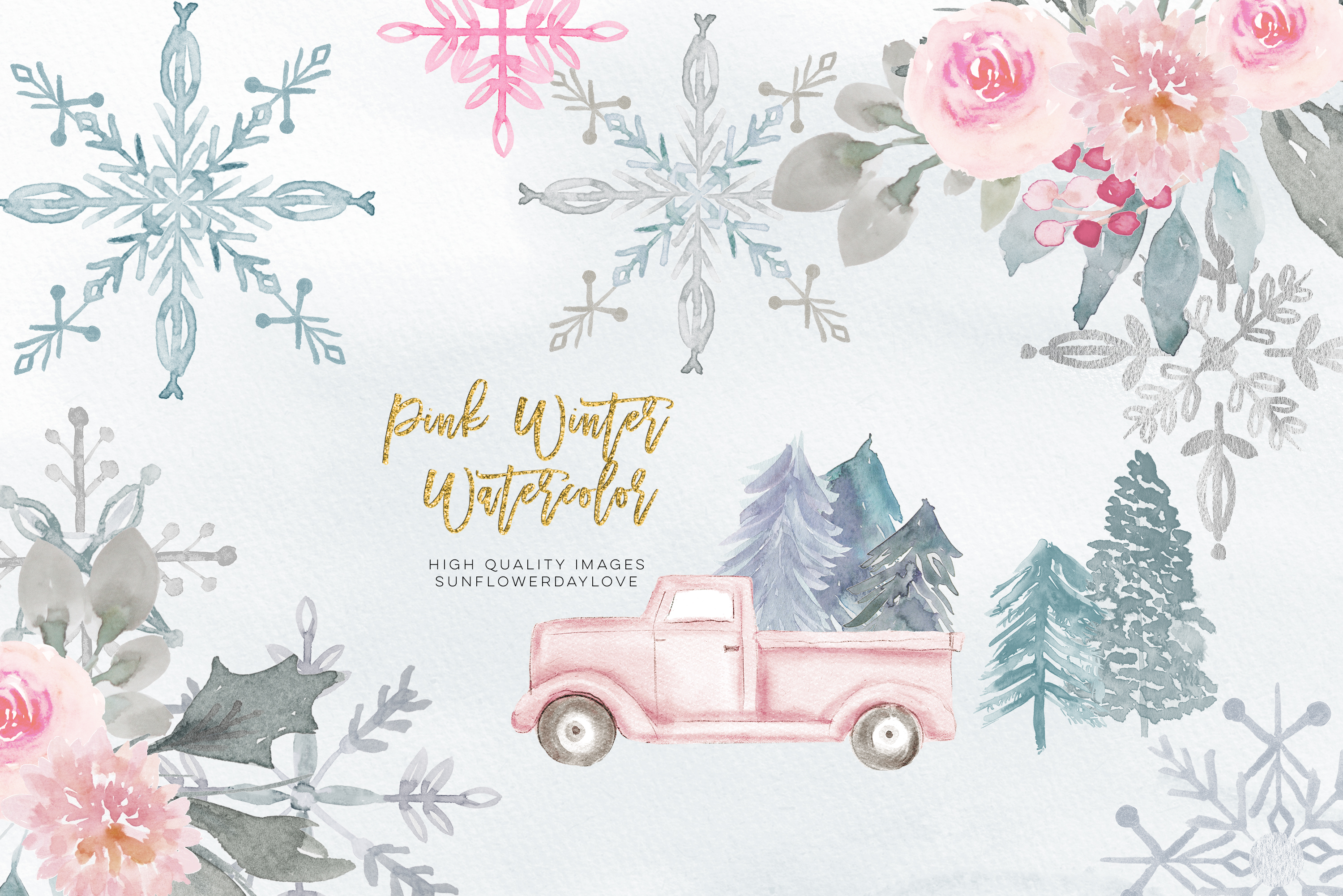 Pink Christmas clipart, floral Pink watercolor clipart example image 4
