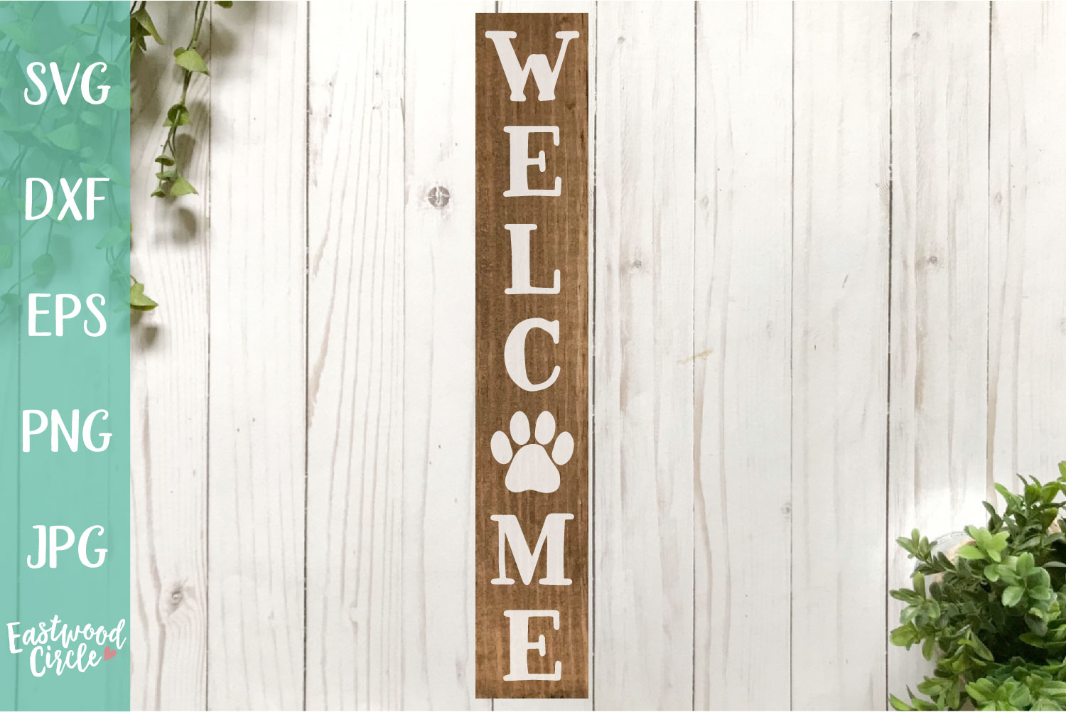 Welcome with Paw Print - A Dog SVG File for Crafters example image 1
