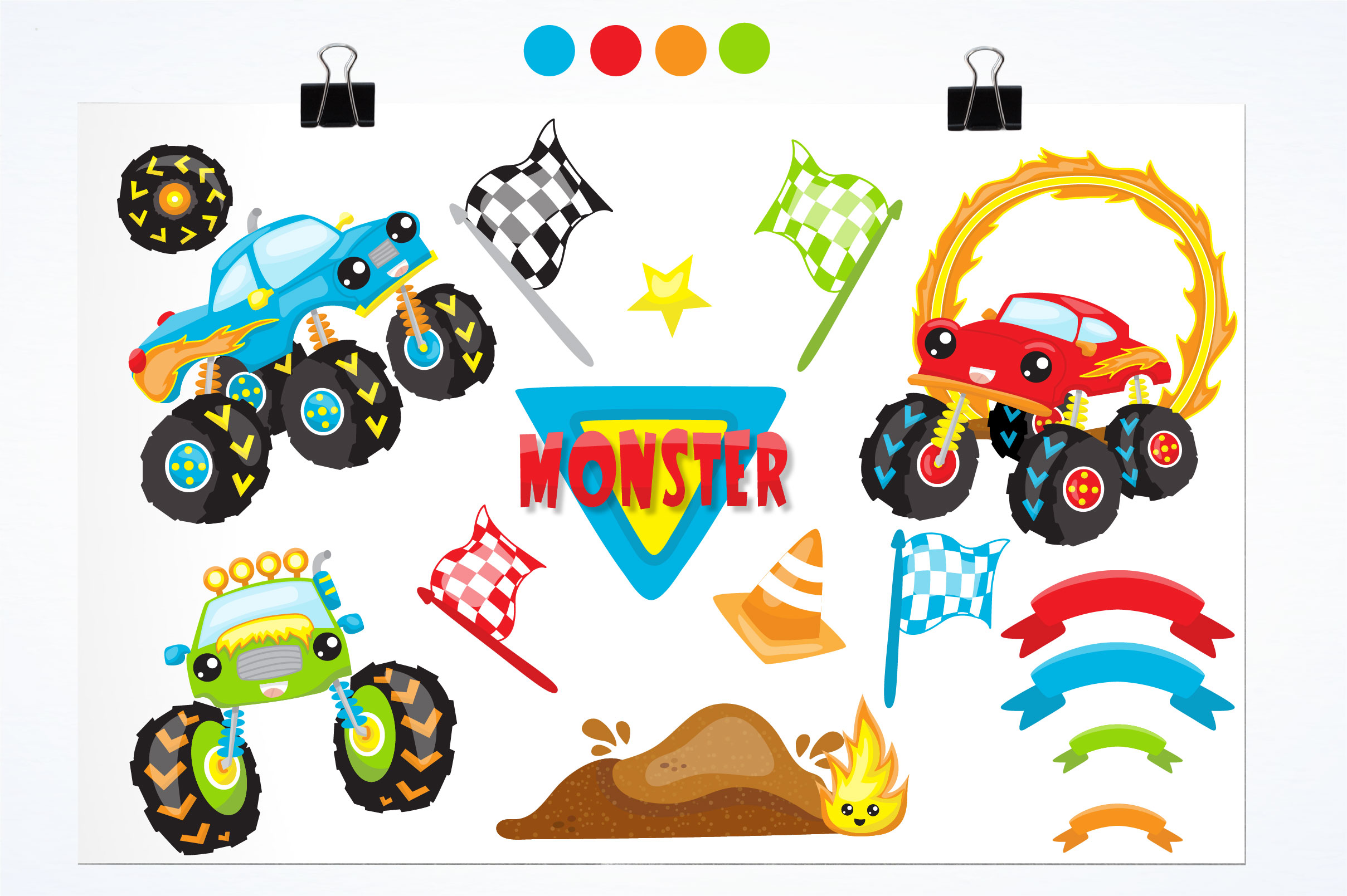 Monster truck graphics and illustrations example image 2