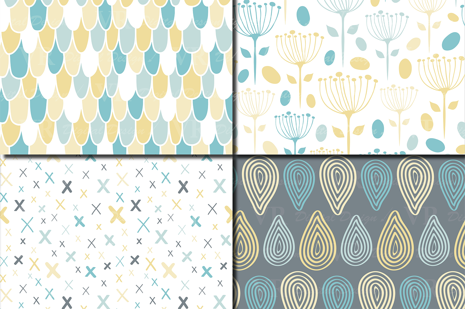 Blue and Yellow Seamless Digital Paper / Pastel Hand drawn patterns / Scales, Hearts, Leaves, Terrazzo Backgrounds example image 3