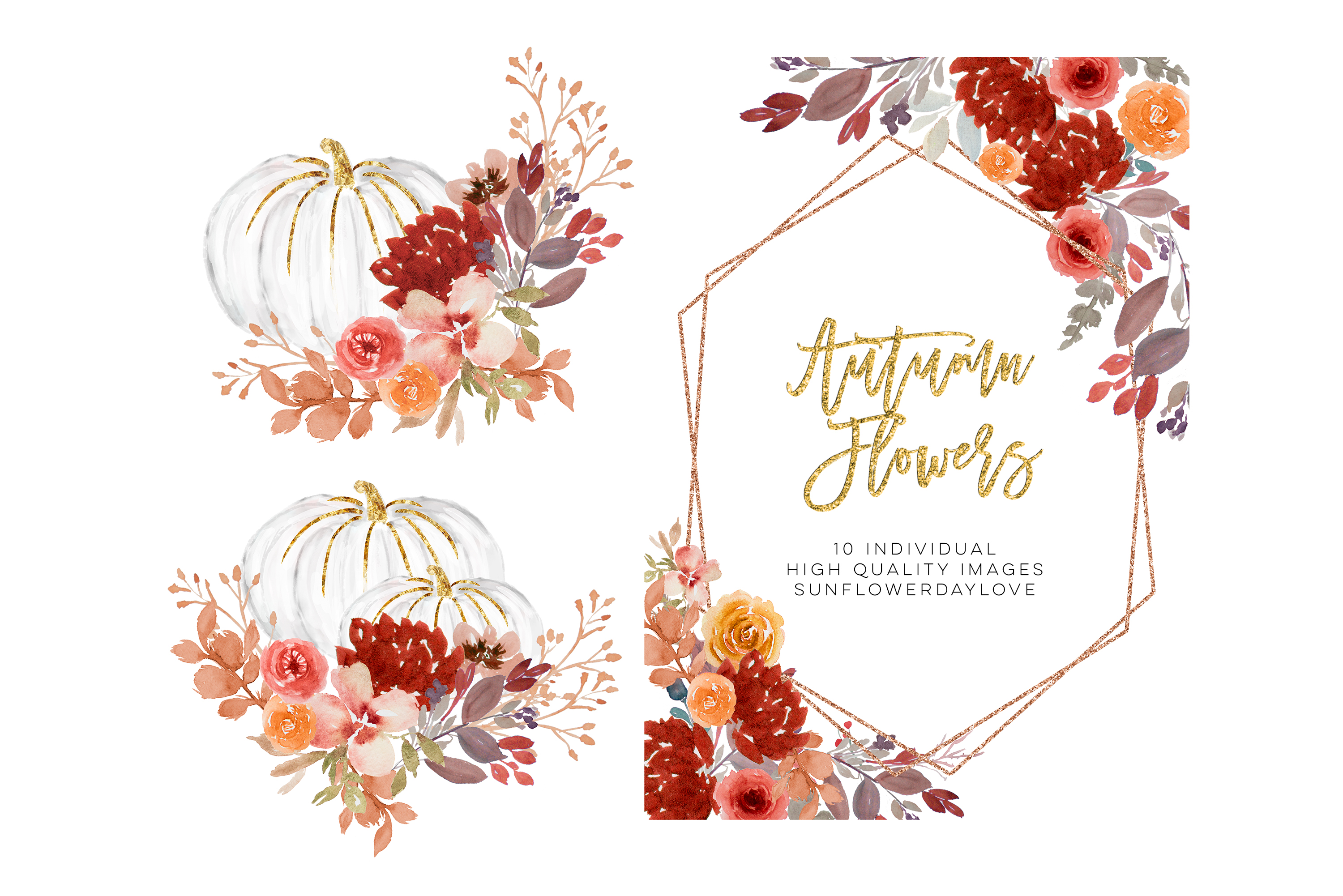 Fall Autumn Wreath Floral Watercolor Clipart