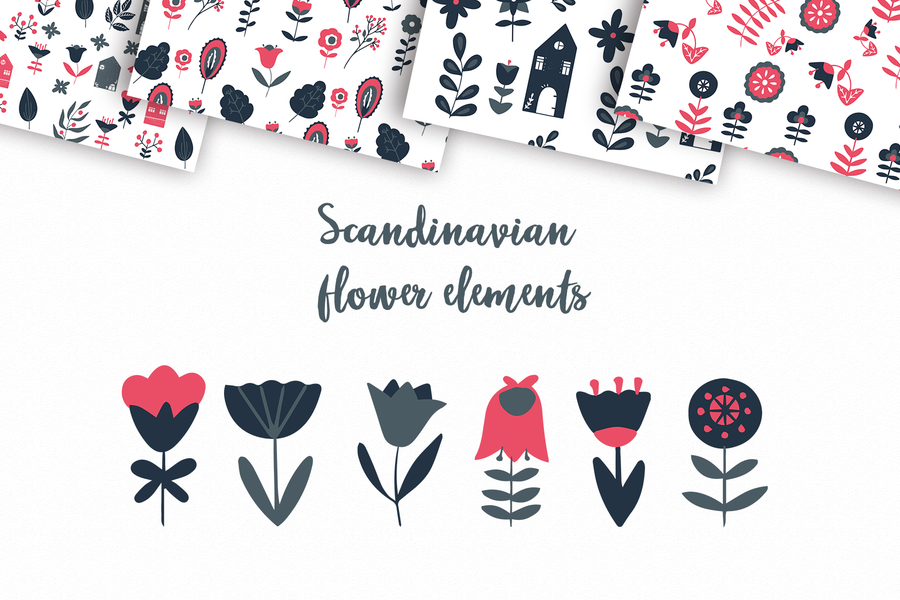 Scandinavian Houses and flower and leaves Nordic clipart example image 8