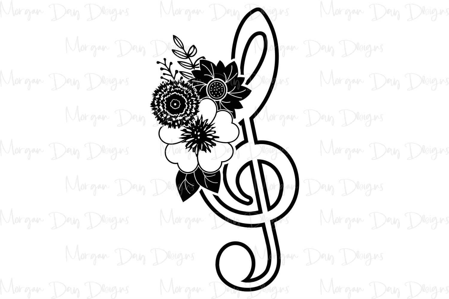 Floral Treble Clef - Band SVG, DXF, AI, EPS, PNG, JPEG example image 2
