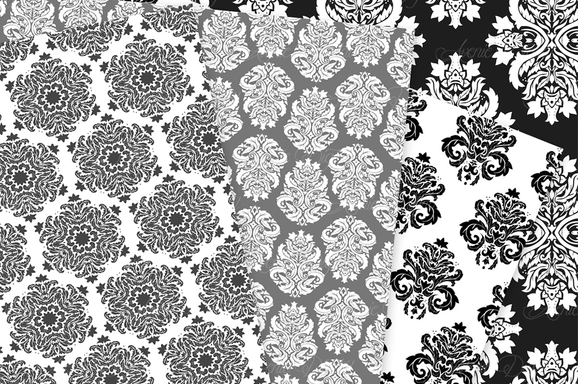 Black and White Damask Patterns - Seamless Digital Papers example image 8
