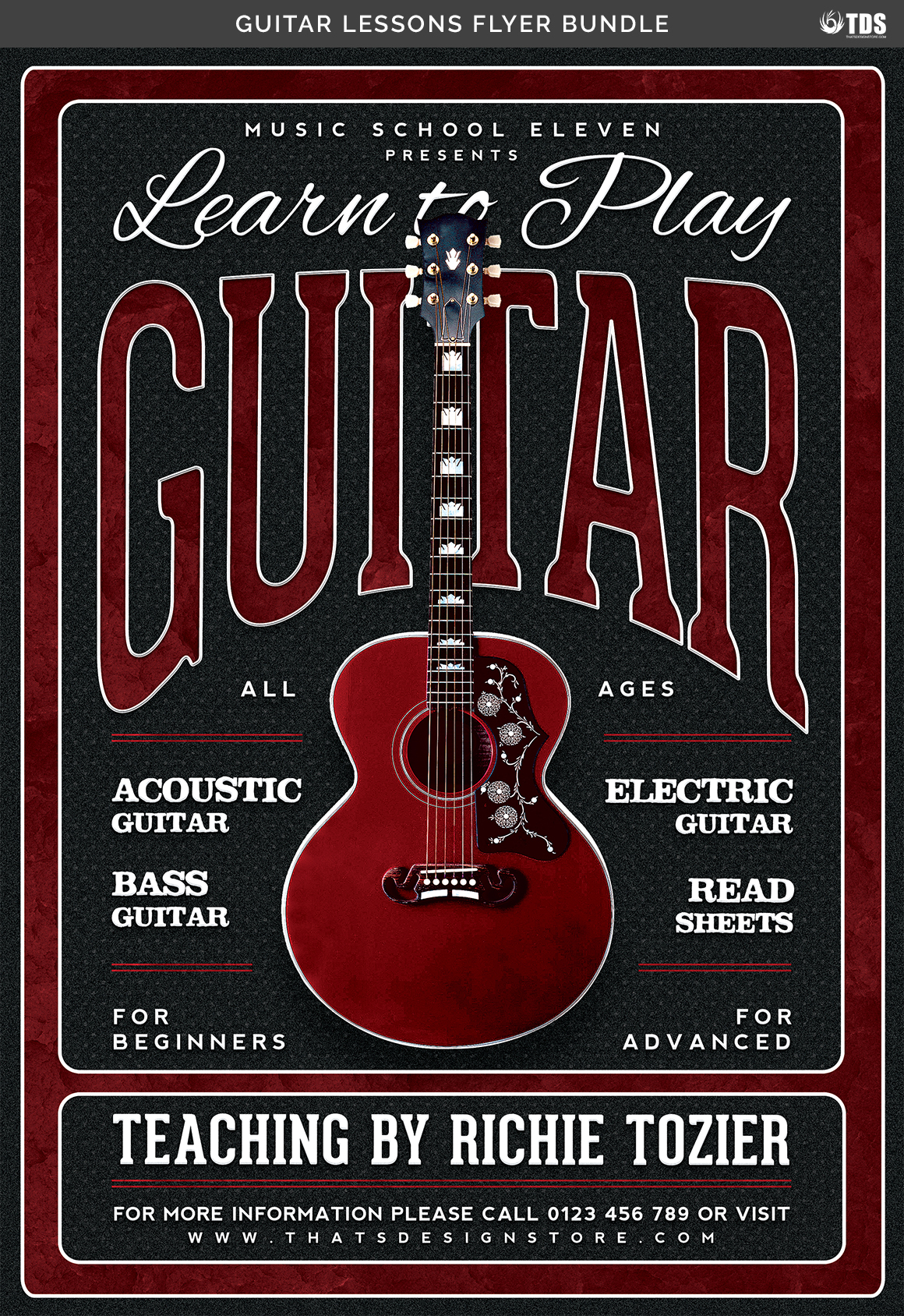 Guitar Lessons Flyer Bundle example image 13