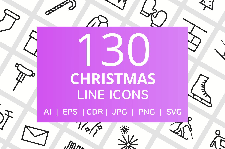 130 Christmas Line Icons example image 1