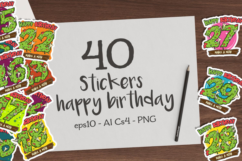 40 birthday stickers example image 1