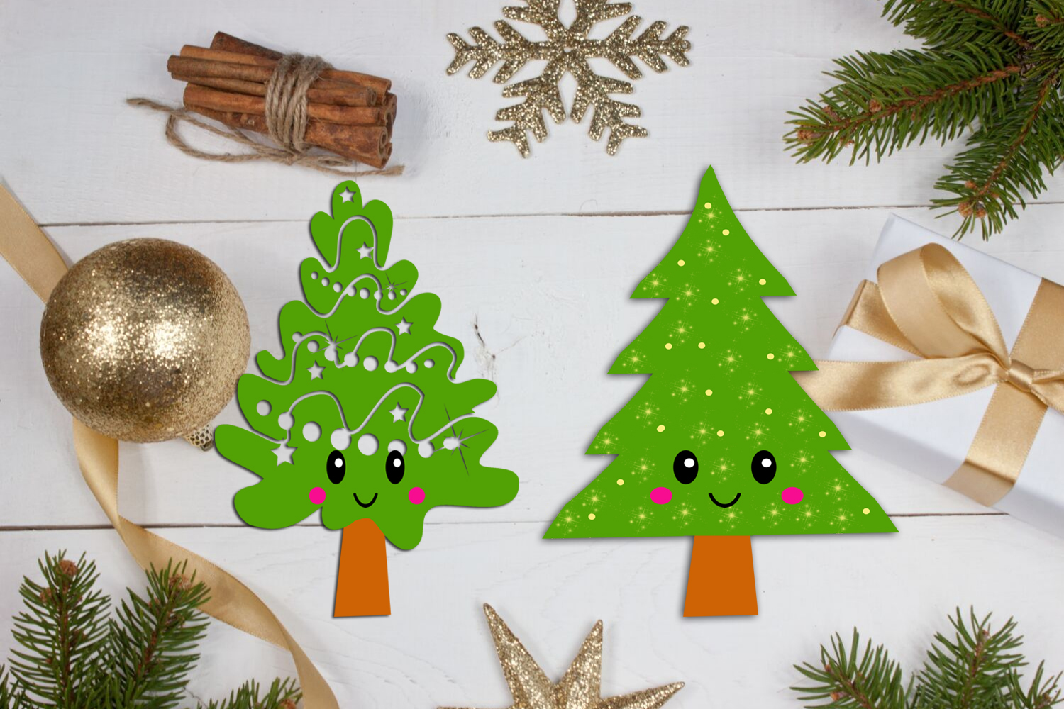 Cute Kawaii Christmas Trees Clipart- Xmas Trees Clipart example image 2