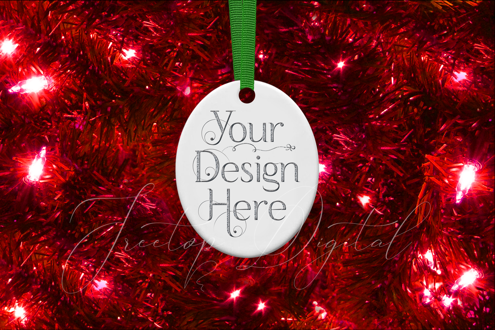 Oval Christmas Ornament Mockup, Sublimation Mock-Up, PSD example image 12