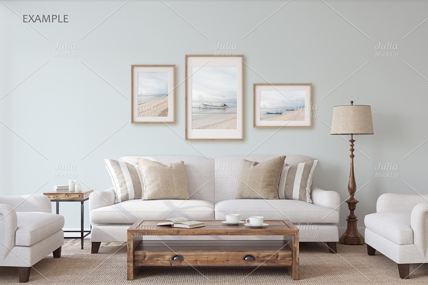 Living-room interiors. Wall&Frames Mockup. example image 7