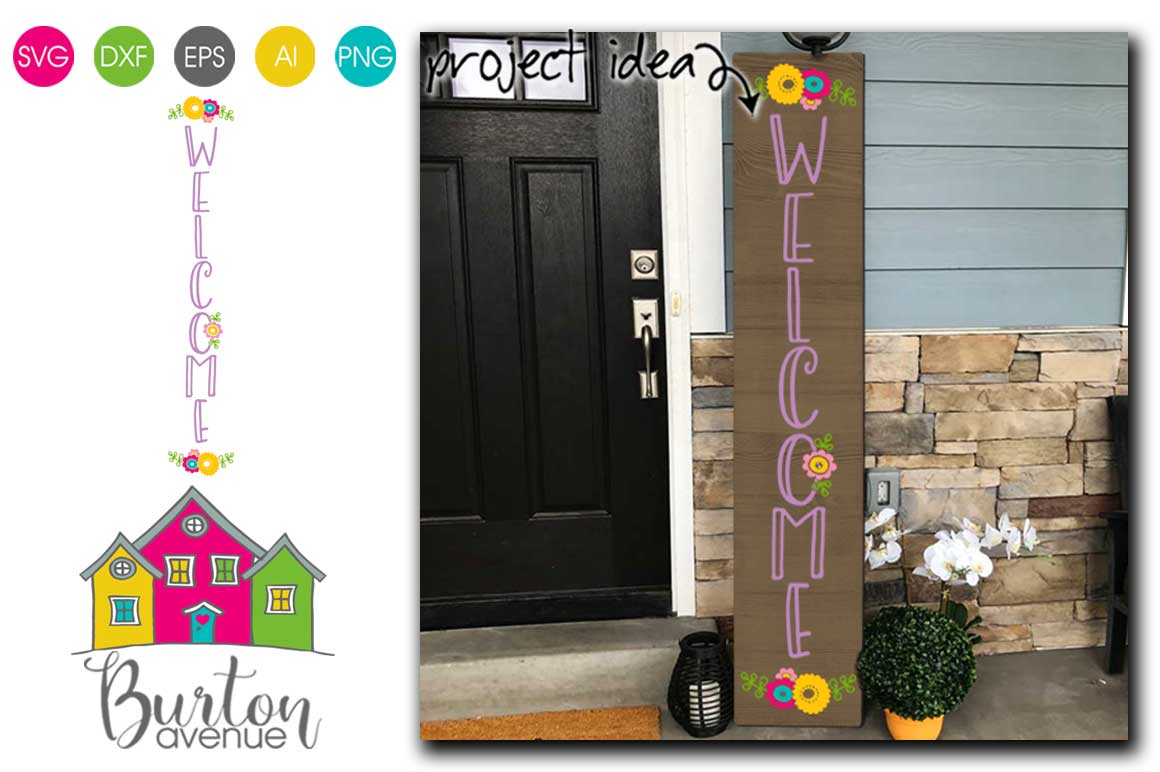 Welcome with Flowers Vertical SVG file for Spring example image 1