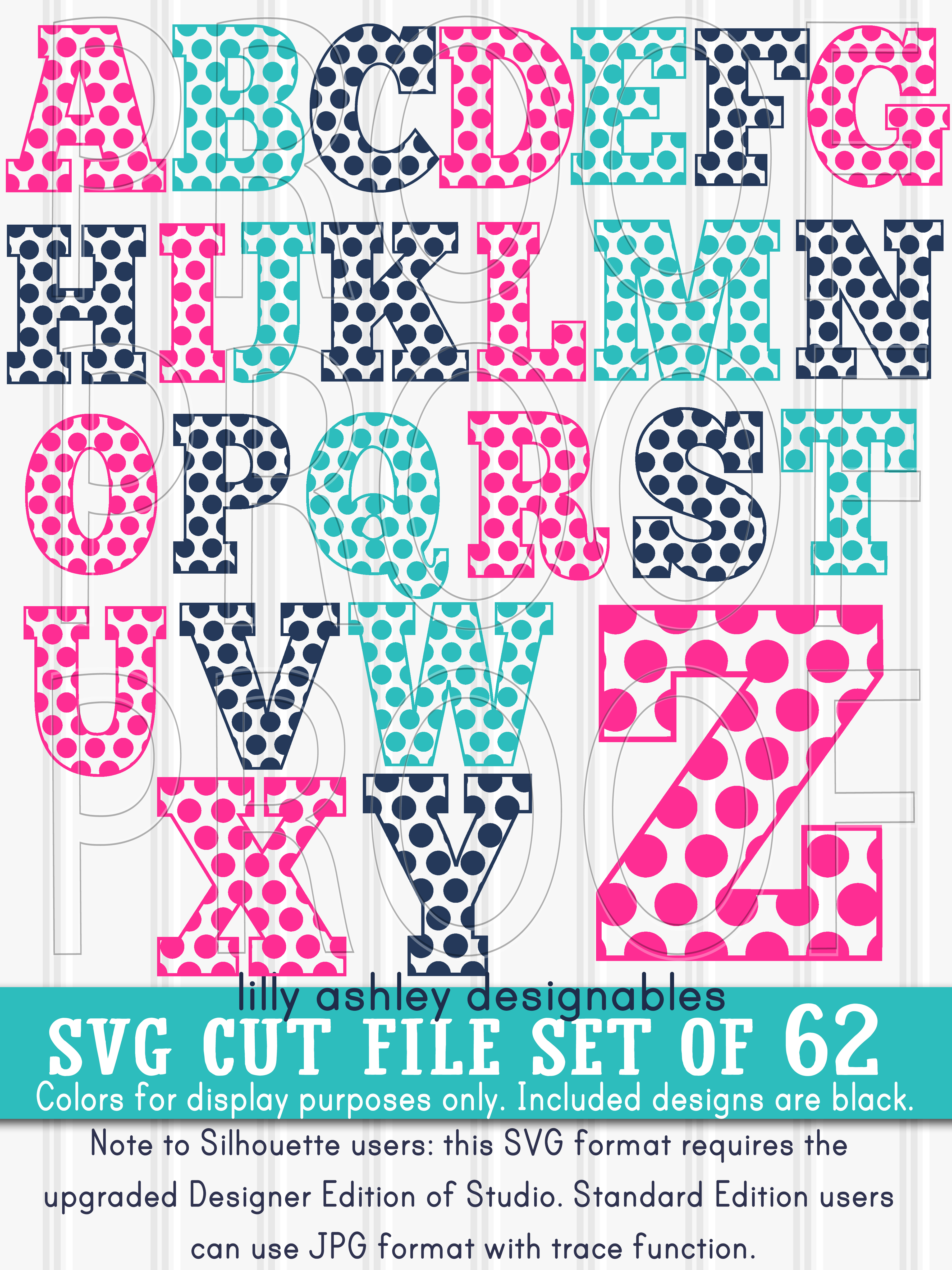 SVG Files Set of 62! Letter and number set includes Uppercase, Lowercase, and Numbers 0-9 svg/png/jpg example image 4