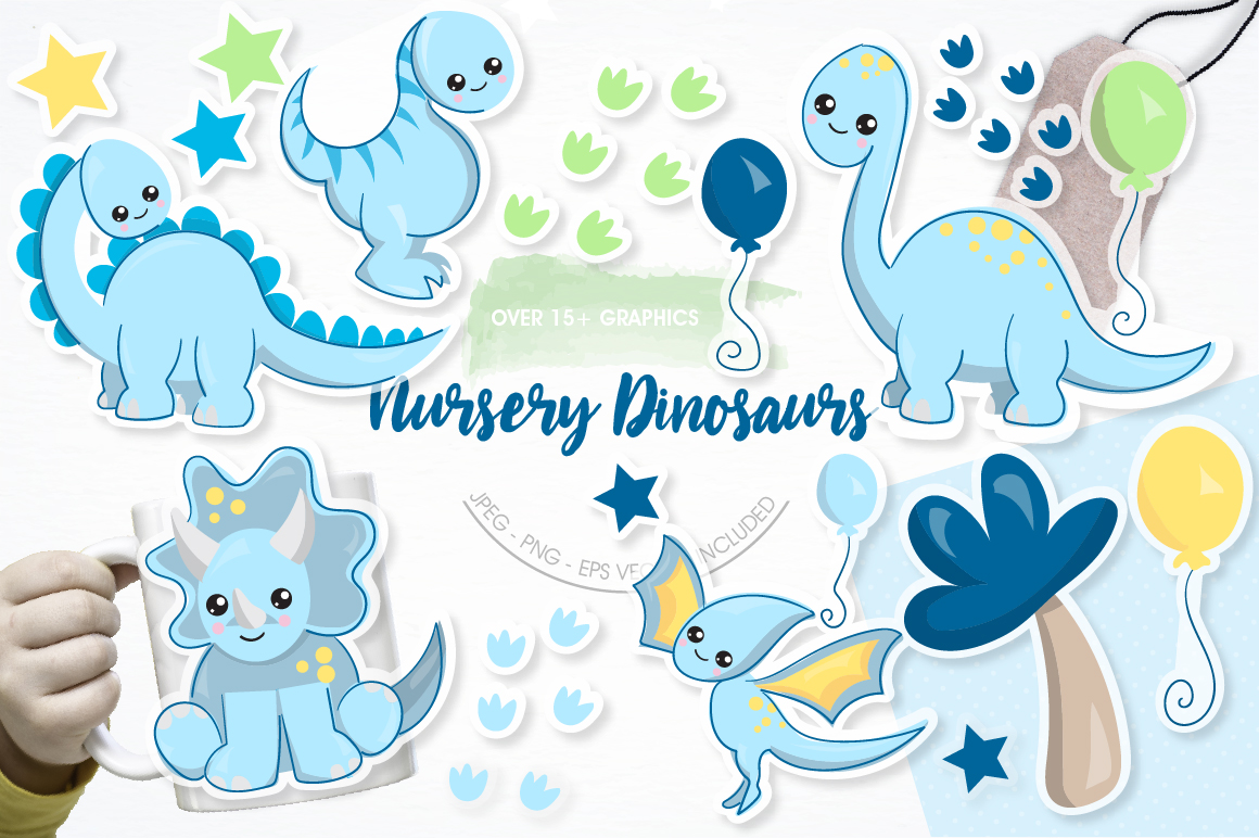 Nursery dinosaurs graphics and illustrations example image 1