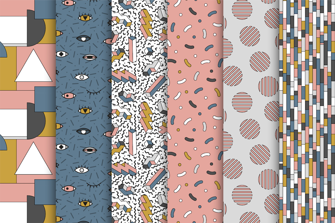 Memphis seamless trendy patterns example image 1