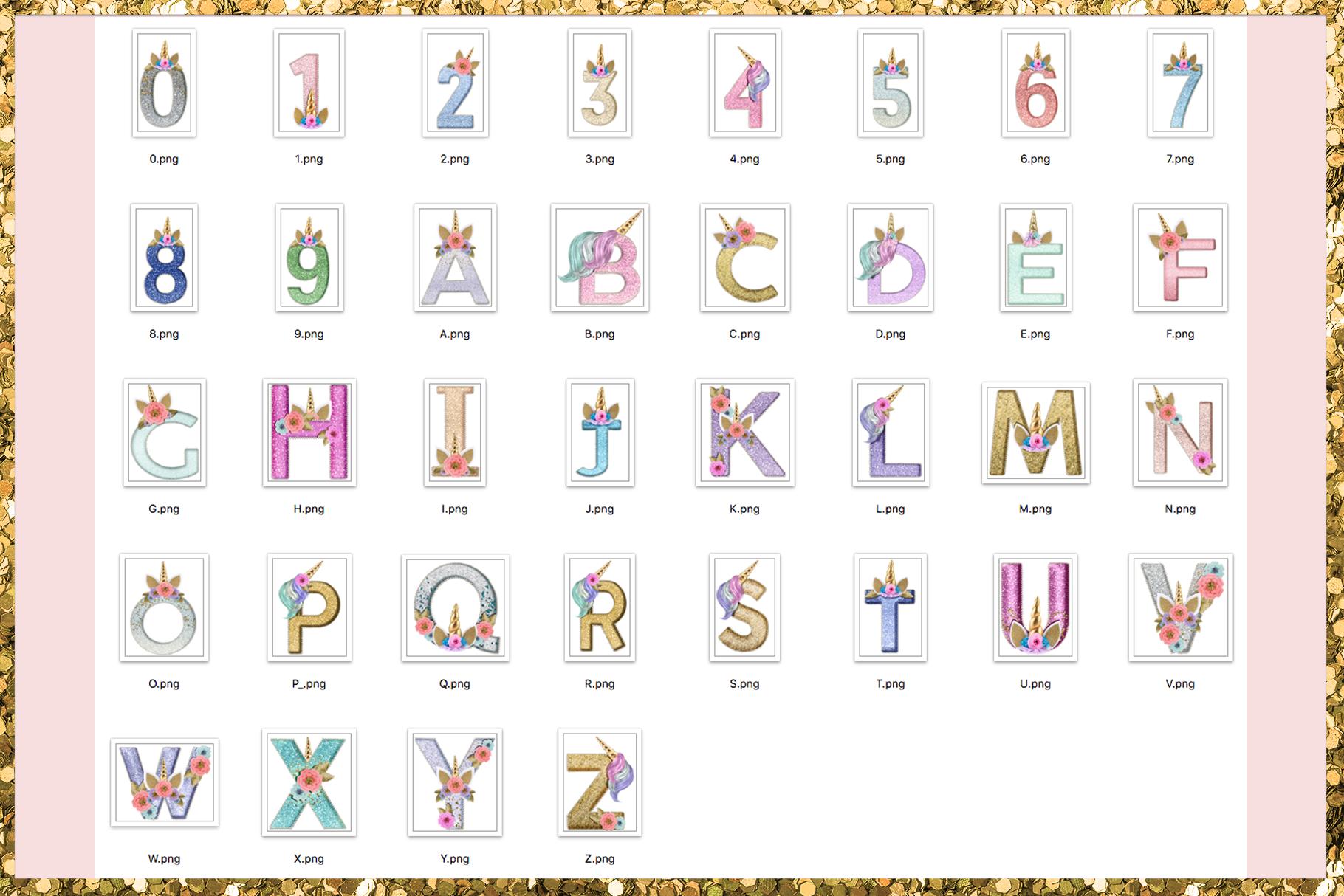 Unicorn Monogram Png Lettering example image 2