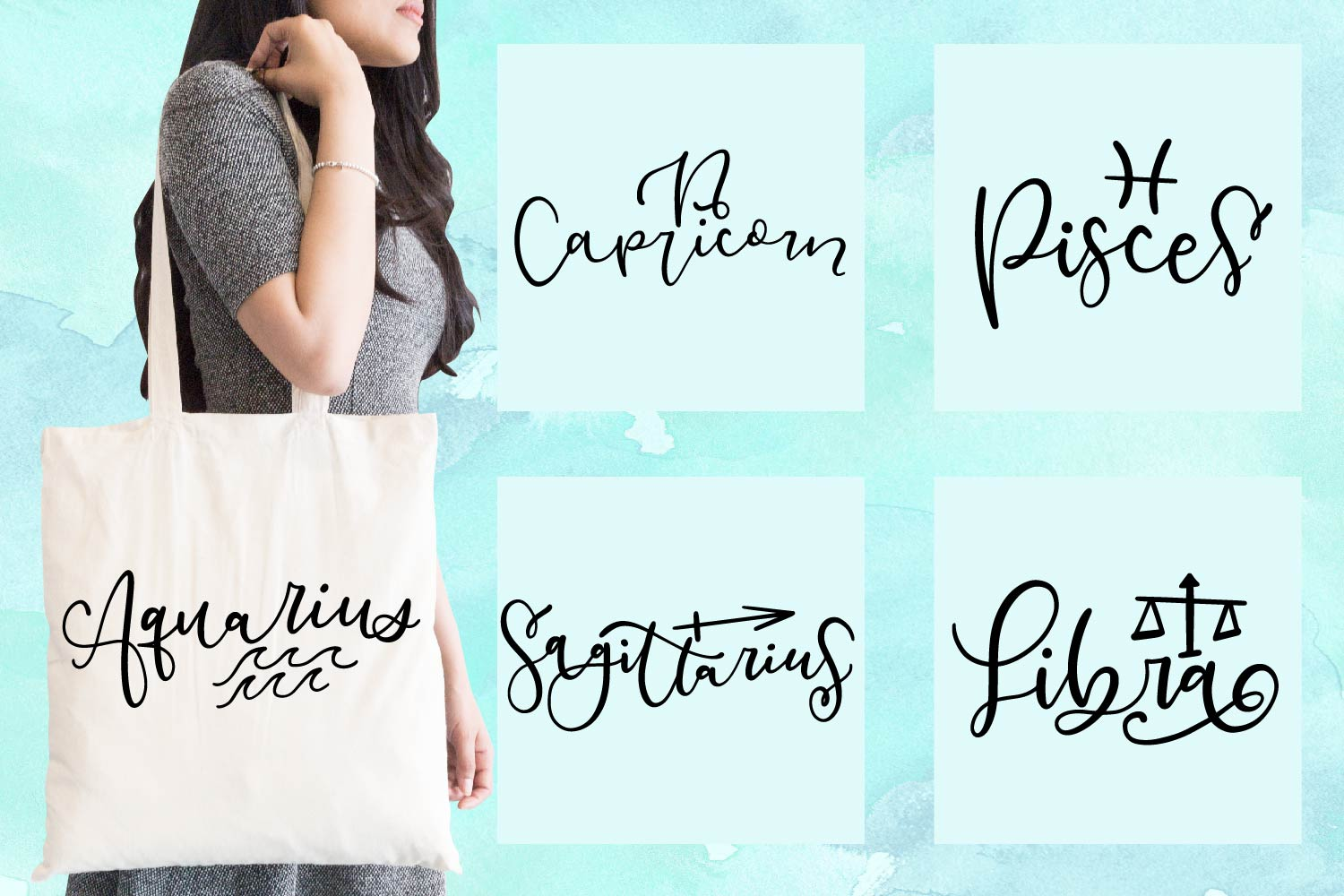 12 Hand Lettered Zodiac Signs - SVG Bundle Pack example image 2