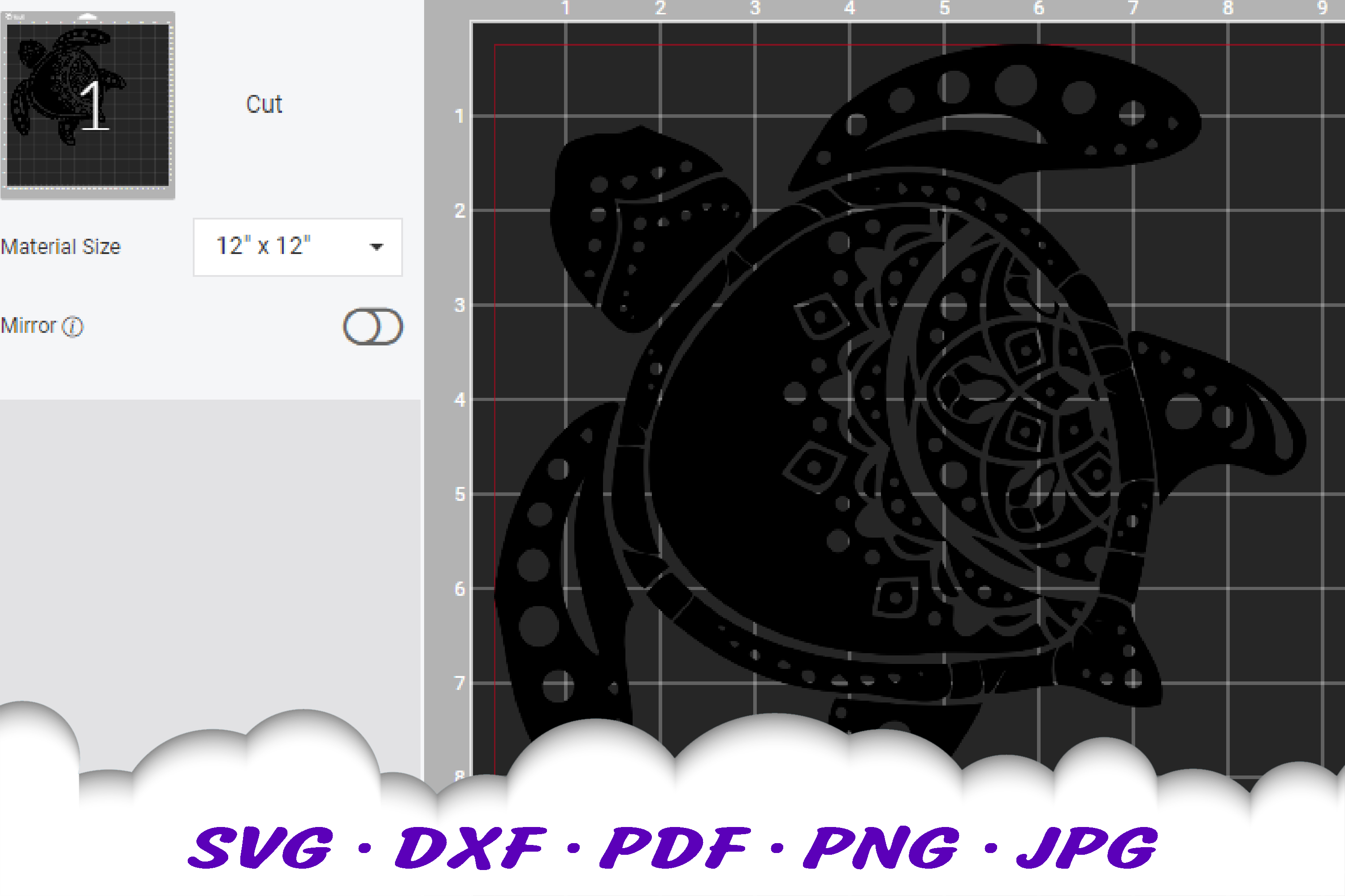 Mandala Sea Turtle SVG DXF Cut Files example image 3