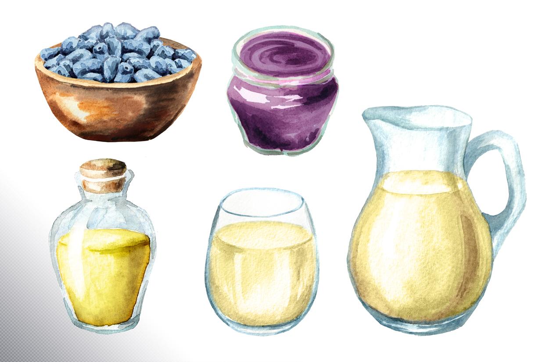 Honeysuckle. Watercolor set example image 11