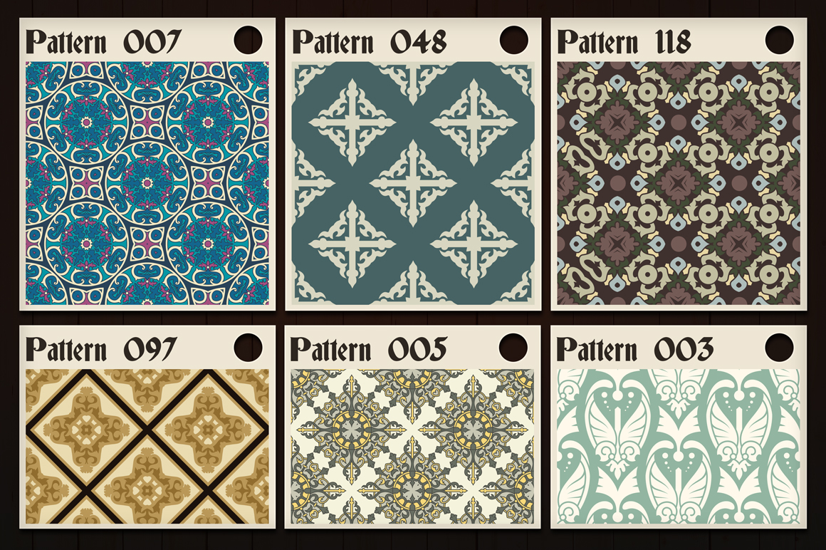 123 Vintage Seamless Vector Patterns example image 8