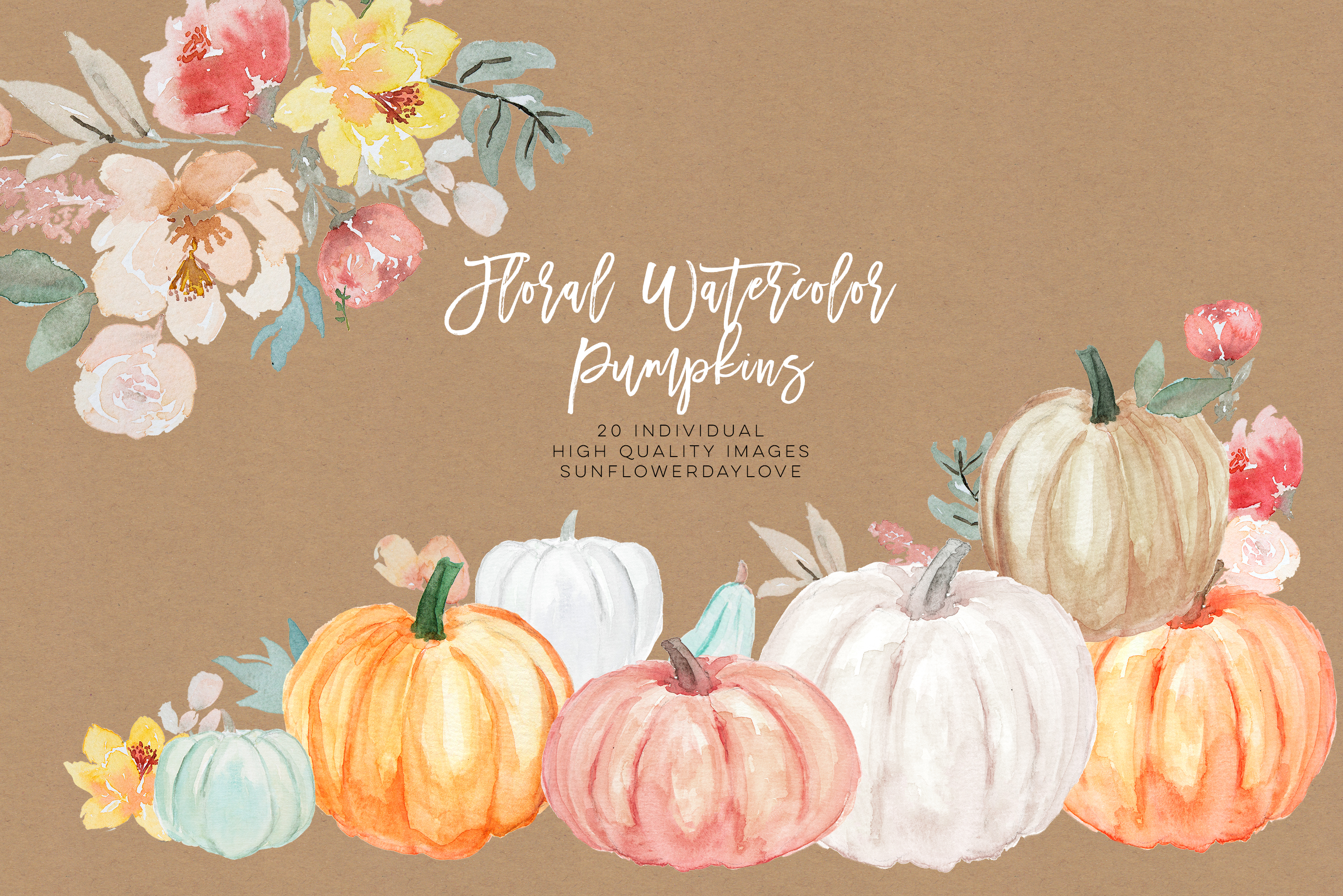 Pumpkin and Floral Watercolor fall clipart example image 3