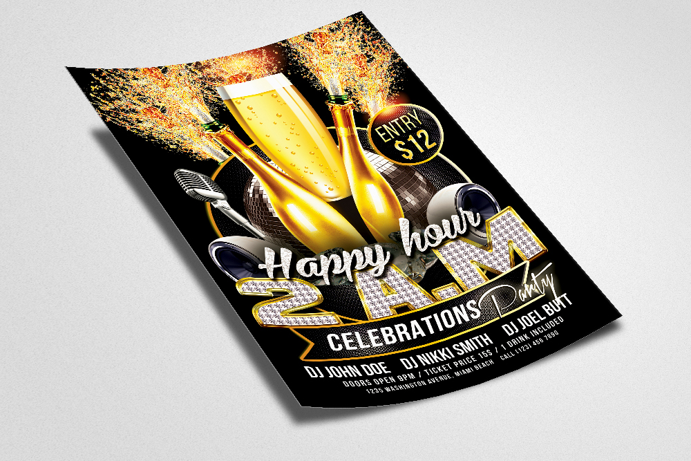 Happy Hour Psd Flyer Template example image 3