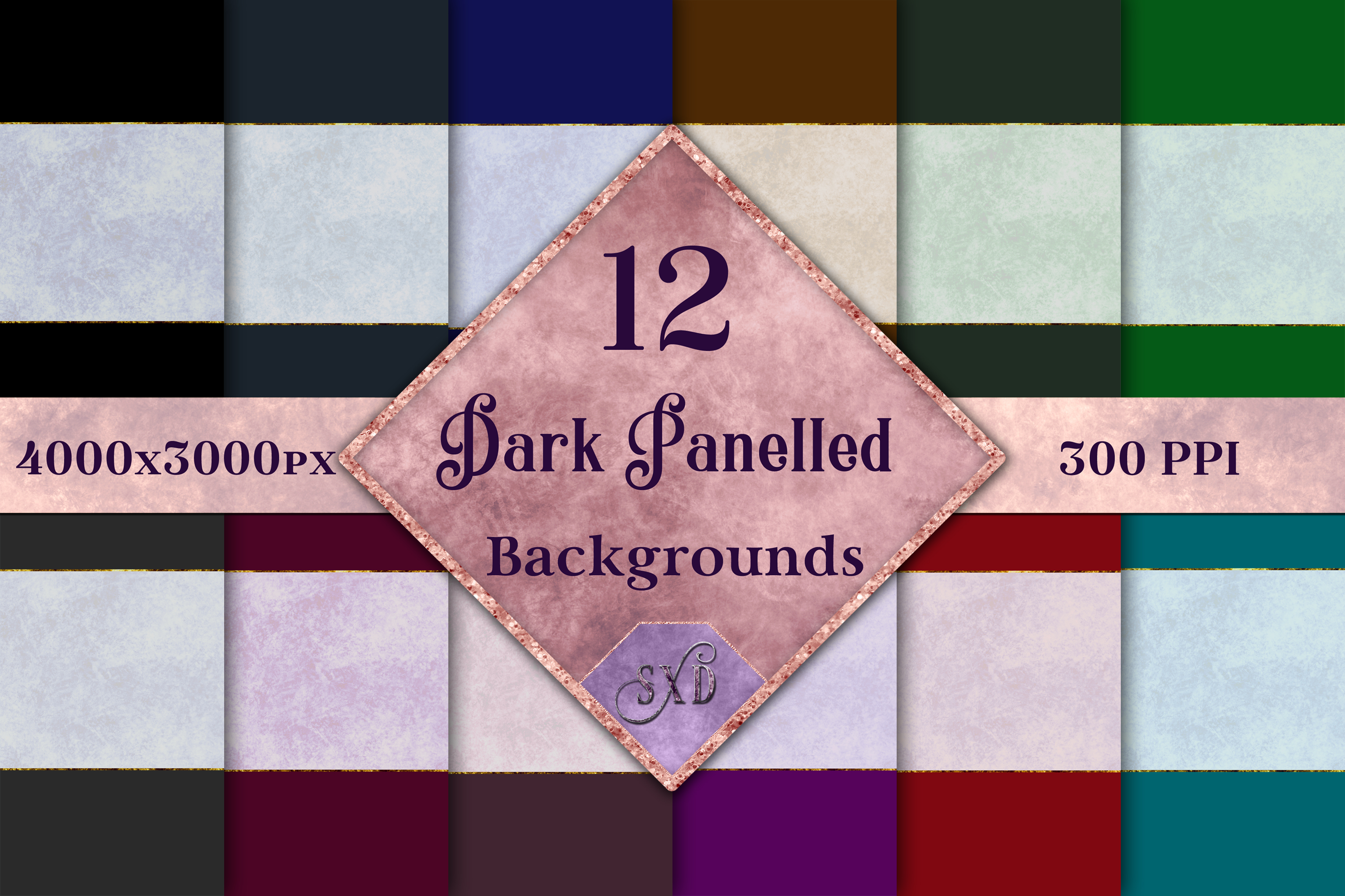 Dark Panelled Backgrounds - 12 Image Textures Set example image 1