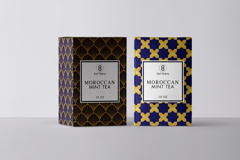 8 Seamless Moroccan Patterns - Gold & Cobalt Blue Set 1 example image 3