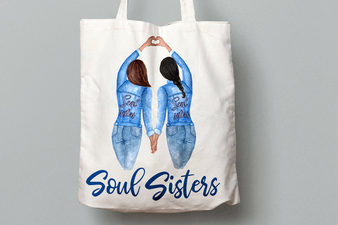 Best Friends Soul Sisters Watercolor Clipart example image 6
