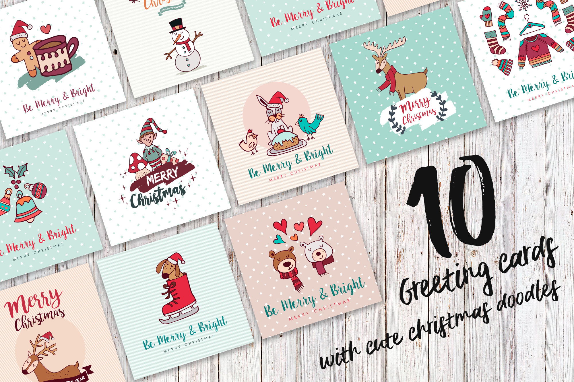 Sweet Christmas: hand drawn set with cute animals example image 2