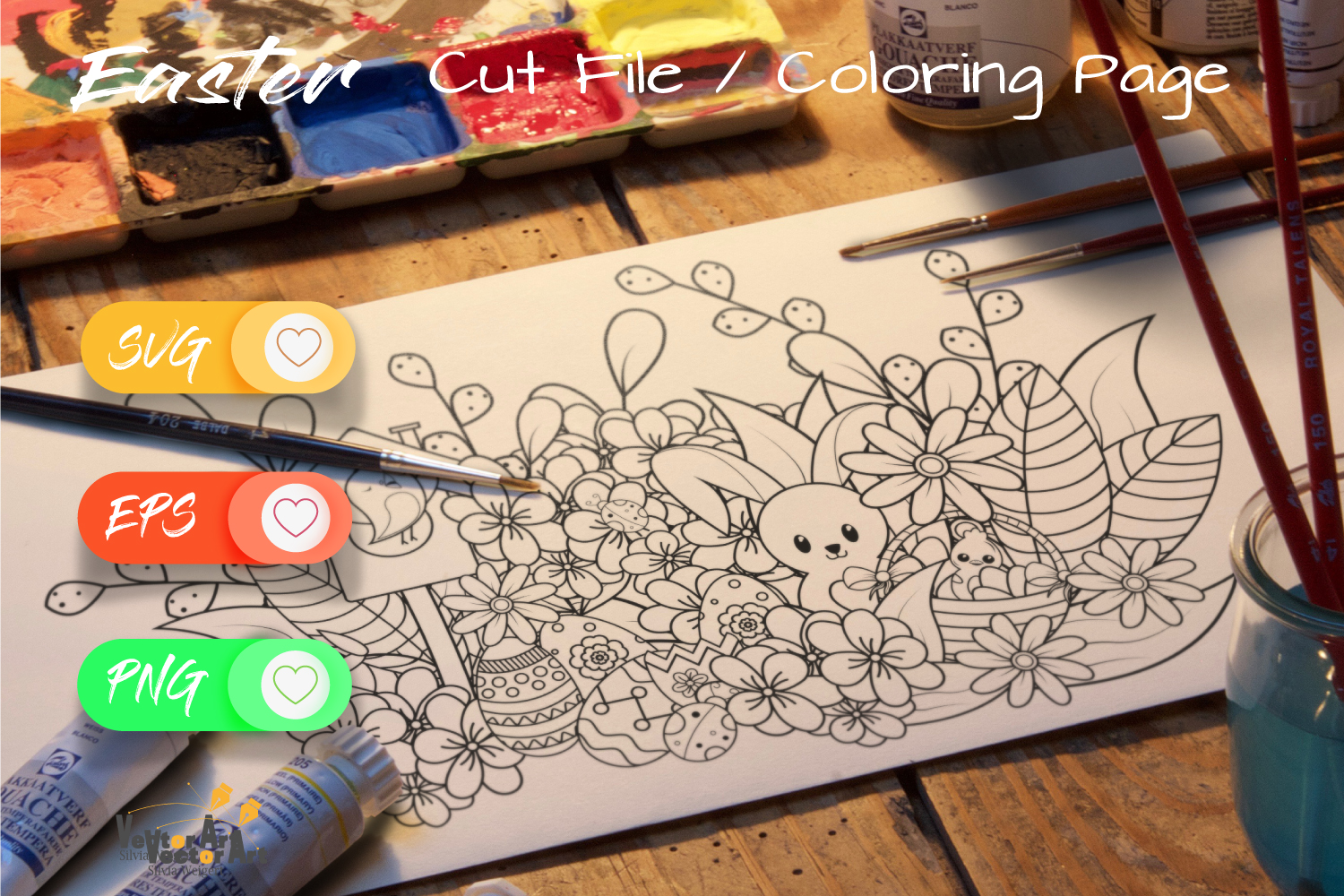 Easter Fun - Cut File and Coloring Page example image 2