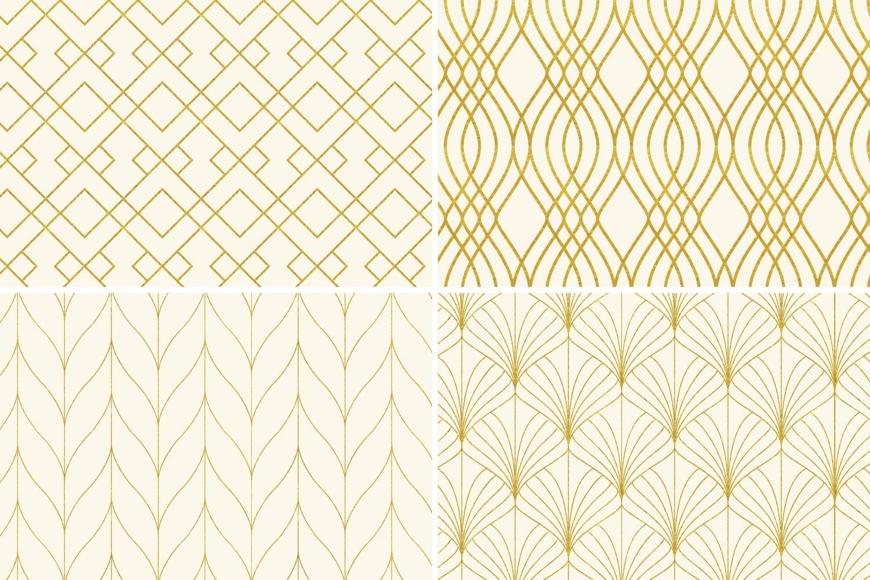8 Seamless Art Deco Patterns - Ivory & Gold Set 1 example image 6