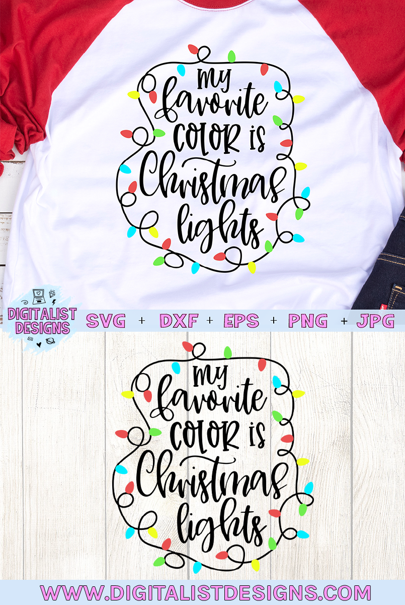 My Favorite Color is Christmas Lights SVG example image 2